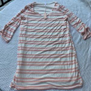 PINKBLUSH pink striped 3/4 sleeve dress maternity